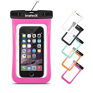 Inateck スマートフォン用防水ケース ストラップ付 防水保護等級 : IPx7 お風呂でも - ピンク