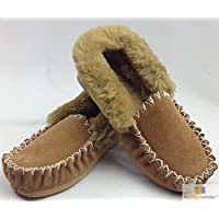 Moccasins 100% Sheepskin Slippers Winter Casual Genuine Slip On