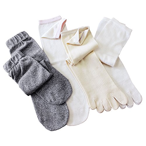 hiorie(ヒオリエ) 冷えとり靴下 シルク&コットン 5本指ソックス(重ねばき専用 4足セット) 日本製 正絹 綿 杢グレー