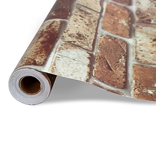 【 DIY 壁紙シール】壁紙 はがせるレンガ かんたん貼付シー...