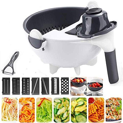 多機能スライサー 千切り野菜水切り器千切り 野菜カッター (細切り、太切り、平切り、花型切り、おろし金、卵白セパレータ、水切り)