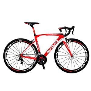 SAVADECK HERD 6.0 700CロードバイクT800炭素繊維 シマノ 105 5800グループセット22段変速カーボンホイールセット/シートポスト/フォーク/ 超軽量18.3 lbs自転車 (ホワイトレッド, 52cm)