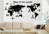 世界地図? グローバル ウォール インテリア ステッカー  地図 タイプ選択可 ブラック (Map of the World)
