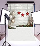 Laeacco 5x7ft Vinyl Backdrop Photography Christmas Balls and Red Stars Interior Decoration Party Hand Made Pine Tree Wood Texture Grunge Background Snow Field Ground Children Girls Photo Backdrops [並行輸入品]