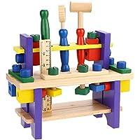Greencherry 大工さんセット 木製おもちゃ ツールボックス トントン 積み木 組み立て工具 ワークベンチ ねじ遊び 知育玩具 プレゼント