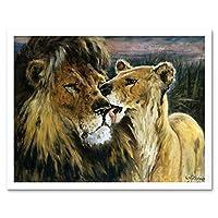 Gustav Wertheimer Lion Couple Nature Animal Painting Art Print Framed Poster Wall Decor 12x16 inch ライオン自然動物ペインティングポスター壁デコ
