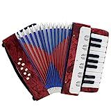 ammoon 手風琴 8ベース 17鍵 小さい 本格的 初心者/子供用 知育玩具 音楽楽器 4色選択