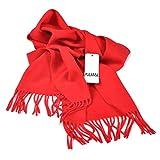 クラシック 無地 チェック柄 厚い ウール カシミヤ カシミア ビジネス メンズ レディース スカーフ マフラー レッド
