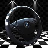 Sino Banyanステアリングホイールカバー、Formula One Racingスタイル、レザーのクラシックステッチ、15インチ、レッド ZR-F1FXPT-PG-White