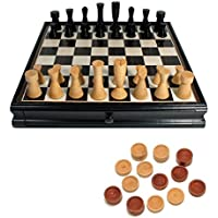 Black Modern Chess and Checkers Set with Storage