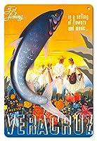 22cm x 30cmヴィンテージハワイアンティンサイン - ベラクルス、メキシコ - 釣り, 花と音楽の設定で - ビンテージな世界旅行のポスター によって作成された エスパート c.1940s