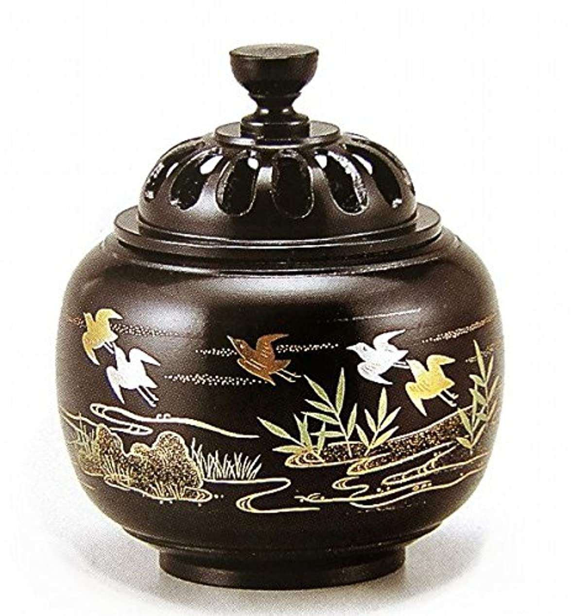 オーストラリア相関する曖昧な『玉胴型香炉?波千鳥蒔絵』銅製