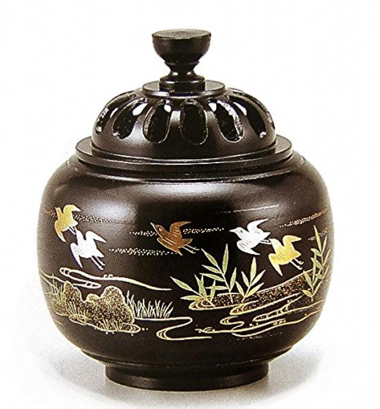 反映するフラッシュのように素早くぬれた『玉胴型香炉?波千鳥蒔絵』銅製