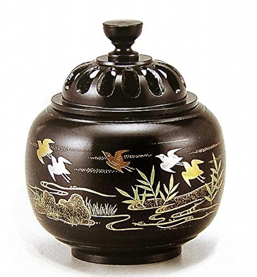 『玉胴型香炉?波千鳥蒔絵』銅製