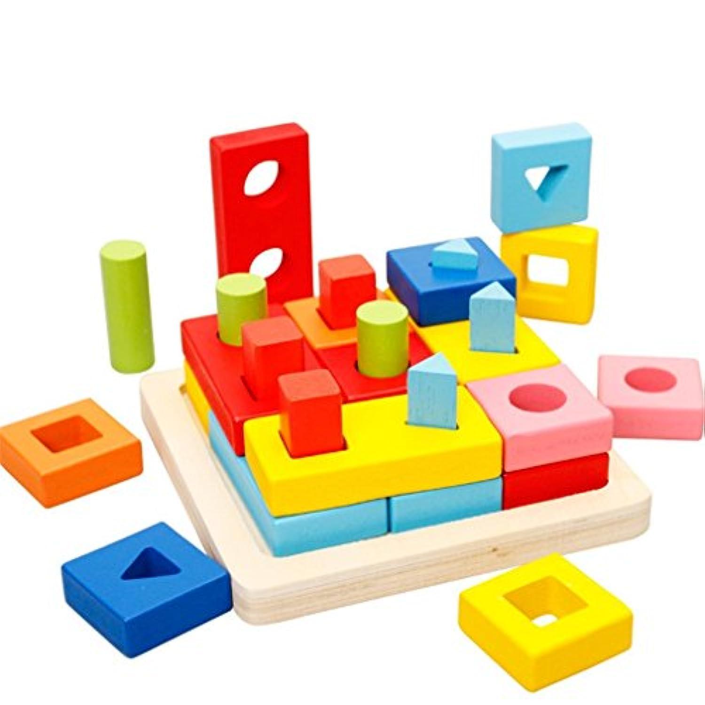 HuaQingPiJu-JP 木製の色と形の幾何学的なソートボードクリエイティブなおもちゃ