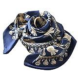 キヌ フローレス 横浜 スカーフ シルク100% エルメス柄 ハーネス 母の日 スカーフ ゴールドネイビー