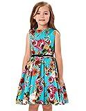 女の子ワンピース ファッション レトロ Aライン 無袖 ラウンドネック コットン ドレス 1#色 120