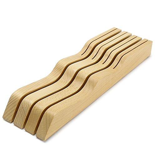 Fuloon 包丁スタンド ナイフスタンド 9丁用 包丁立て ケヤキの木 丈夫 滑り止め キッチン収納 スタンド 包丁セット