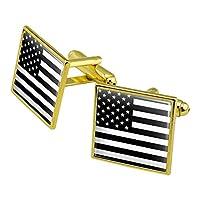 控えめなアメリカのアメリカの旗黒い白軍の戦術スクエアカフリンクセットゴールドカラー