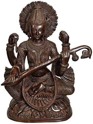 Exotic India ZBU74 女神サラスヴァティ、16.5インチ、ブラウン