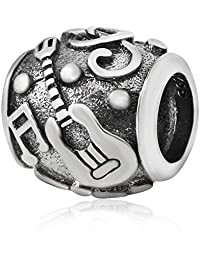 Musical Charm Notes Bead 100% 925 Sterling Silve Guitar Charm Love Music Mother's Day Birthday Charm Fit Music Pandora Charm Bracelets (Guitar Charm)