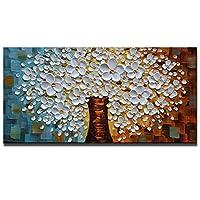 油絵 キャンバス ウォールアート リビングルーム 寝室用 20*40inch(50*100cm) ホワイト AZ008-50100
