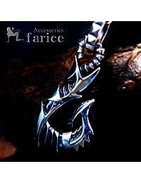メカニカルフィッシュフック(釣り針) アームドデザイン スクエアスタッド(鋲) 彫りバチカン装飾 メンズ シルバー925 ペンダント ネックレス