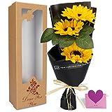 YOBANSA レグランス ソープフラワー 花束 ギフトボックス 誕生日 父の日 記念日 先生の日 バレンタインデー 昇進 転居など最適としてのプレゼント (ヒマワリ)