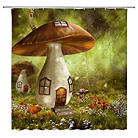 妖精の家きのこコテージ色とりどりの花浴室の窓の装飾のための生地のホックが付いているポリエステル防水シャワー・カーテン60X72in