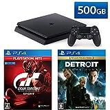 PlayStation 4 + グランツーリスモSPORT + Detroit: Become Human セット (ジェット・ブラック) (CUH-2200AB01)【特典】オリジナルカスタムテーマ(配信)
