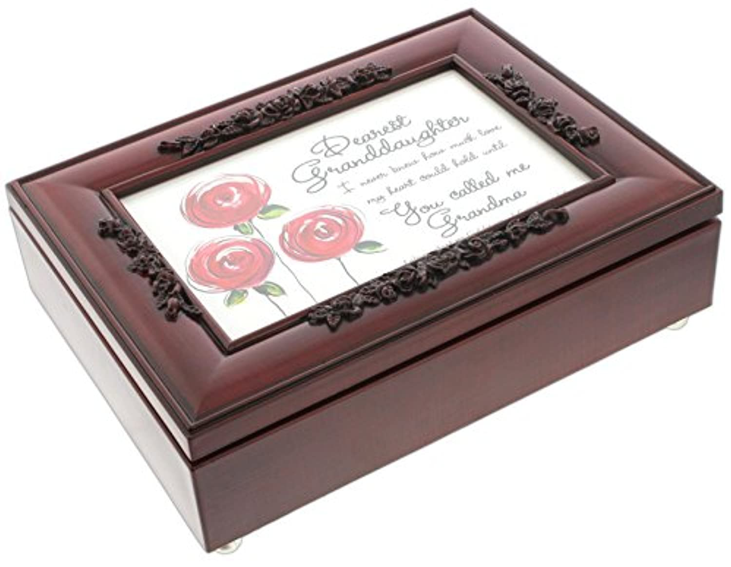 (Granddaughter) - Cottage Garden Rosewood Music Box with Poem Insert