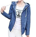 ELPIS レディース ファッション デニム ジャケット 長袖 春 秋 コート ガウン 各2色 S M L XL 2XL サイズ(ネイビー,M)