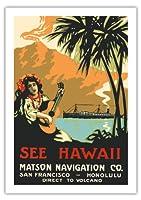 ハワイを参照してください。 - マトソンナビゲーション社 - サンフランシスコホノルル - 火山への直接 - ウクレレを弾くハワイアンガール - ビンテージなハワイの旅行のポスター c.1915 - 美しいポスターアート