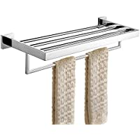 Keybath タオル棚 タオルラック 2段式 ステンレス製 壁掛け バスルーム 浴室 お風呂場 収納 おしゃれ シンプル 北欧 タオル干し タオルハンガー ホテル ネジ付属 長さ60cm