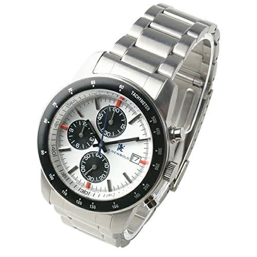 R.NEWBOLD(アールニューボールド) 腕時計 クロノグラフ メンズ メタルブレス ホワイト (並行輸入品)
