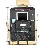 シートバックポケット 車用 収納ポケット USBポート付き 後部座席収納 車載ゴミ袋 かー用品 防汚 防水 多機能 大容量 おしゃれ (ブラック, 1枚-8ポケット) 画像