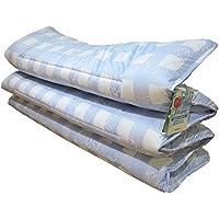 日本製 軽量 コンパクト 洗える敷き布団 キュート ブルー 六つ折りタイプ シングル 帝人 ウォシュロン