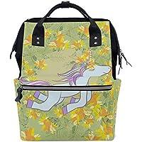 ママバッグ マザーズバッグ リュックサック ハンドバッグ 旅行用 ユニコーンと花柄 金黄色 ファション