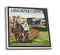 ランカスター郡ペンシルベニア州、–アーミッシュファームシーン 4 Coaster Set LANT-34052-CT