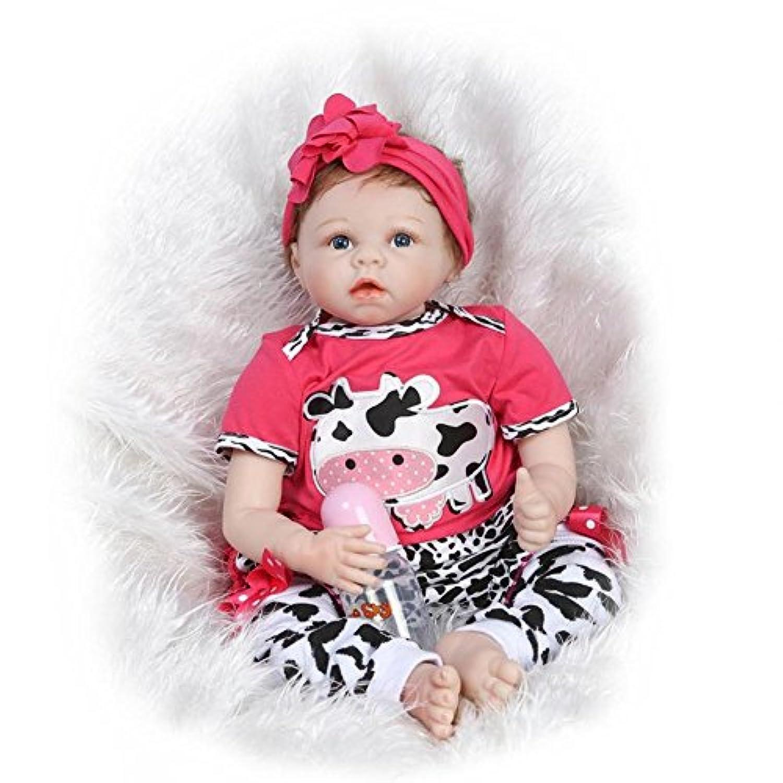 DollshowリアルなシリコンBaby Girl With OpenアクリルEyes Rebornダミー人形趣味コレクションモヘアRootedレディースTreats 22インチ55 cm