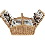 Picnic Basket Willow Hamper for 4 Persons with Insulated Cooler Bag, Large Wicker Picnic Basket with Stripe Lining Willow Picnic Set Includes Silverware, Glasses and Accessories