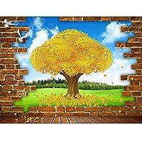 Ansyny 3D部屋の壁紙カスタム写真壁画不織布壁のステッカー豊富な木ゴールデンツリー壁画壁紙用壁3D-360X250CM
