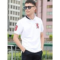 ジョルダーノ(メンズ)(GIORDANO) ライクラ素材【ストレッチ抜群】3Dライオン刺繍ポロシャツ