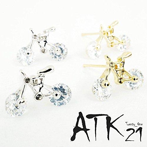[ATK21] キラキラ ライトストーン 可愛い自転車モチーフピアス シルバー ゴールド アクセサリー メンズ レディース ユニセックス(ヾ(ゴールド)