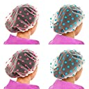 KaLaiXing Women Waterproof Shower Cap Double Layer Bath Cap Elastic Band Spa Shower Hat--blue pink