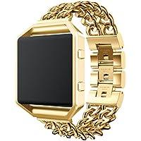 Gotd tainless Steel交換用バンド時計ストラップリストバンドブレスレットwithメタルフレームfor Fitbit Blaze (ゴールド)