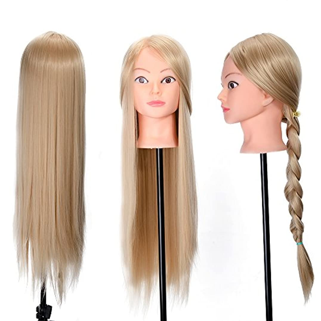 ピッチャー複雑な延ばす26インチトレーニングヘッドヘア編組モデルヘアスタイル人形でテーブルクランプサロンスタイリングデザインマネキンダミーヘッド