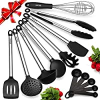 Silicone Kitchen Utensils With Stainless Steel Handles - Set Of 8 Heat Resistant & Nonstick Cooking Tools - Tongs, Serving Spoon, Whisk, Spatula, Ladle, Slotted Turner, Spatula, Handheld Skimmer