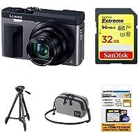 パナソニック コンパクトデジタルカメラ ルミックス TZ90 光学30倍 シルバー DC-TZ90-S + アクセサリー4点セット(SDカード32GB + 保護フィルム + マルチポーチ + 三脚)