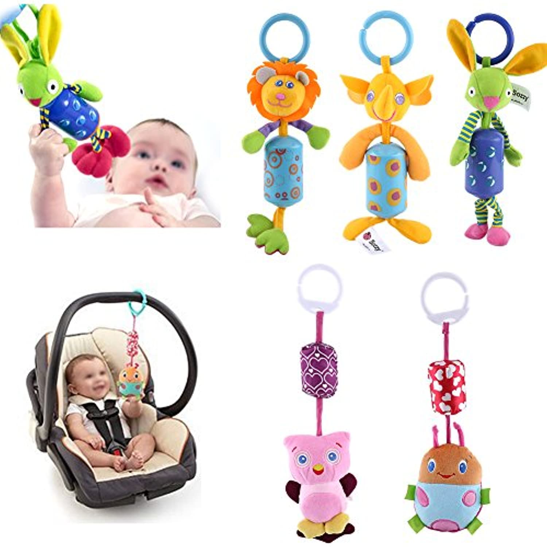 風鈴Rattles、5点ソフトセキュリティLovely Lifelikeベビー乳児Smarts Toy Kidsベビーカー吊り下げベルCarseat